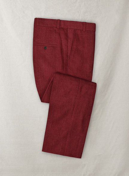 Moscow Maroon Pure Linen Pants