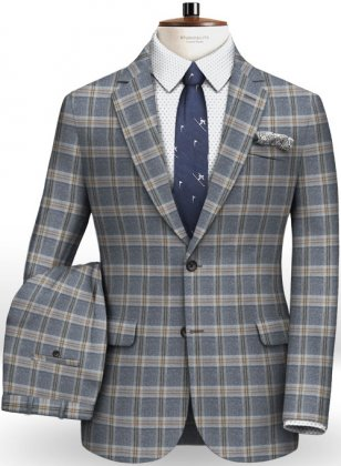 Parma Blue Feather Tweed Suit