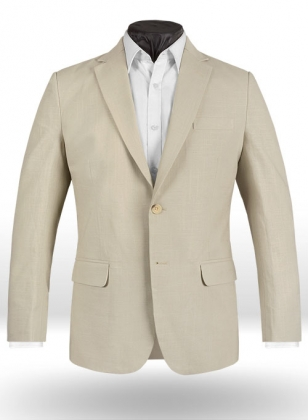 Tropical American Beige Linen Jacket - 40R