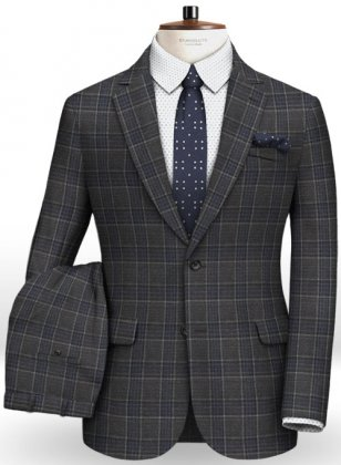 Napolean King Charcoal Wool Suit
