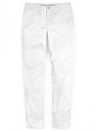 Washed Summer Weight White Chinos