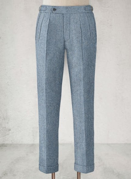Light Blue Herringbone Highland Tweed Trousers