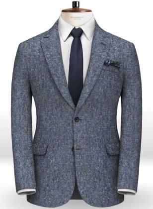 Caccioppoli Donegal Mid Blue Tweed Jacket