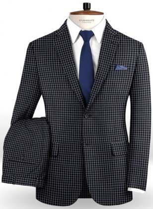 Napolean Chok Blue Black Wool Suit