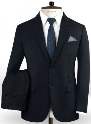 Stretch Blue Wool Suit