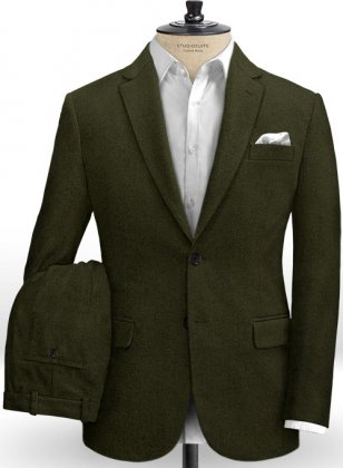 Light Weight Dark Green Tweed Suit