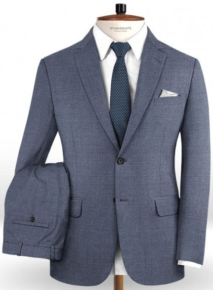 Reda Steel Blue Pure Wool Suit