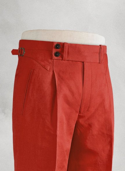 Safari Red Heritage Cotton Linen Trousers