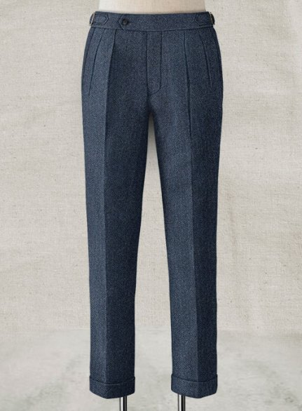Showman Blue Herringbone Highland Tweed Trousers