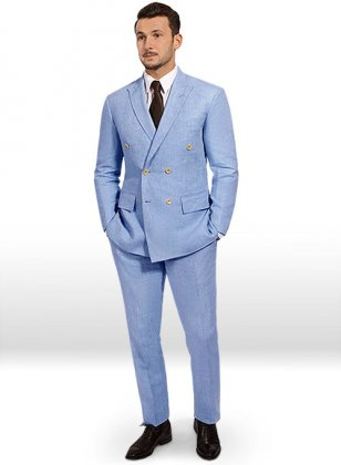 Italian Nile Blue Linen Suit