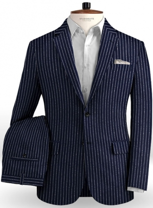 Solbiati Dark Blue Stripes Linen Suit