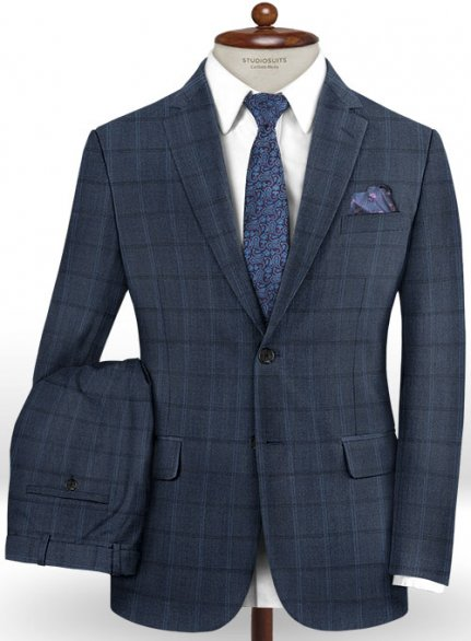 Scabal Coza Blue Wool Silk Suit