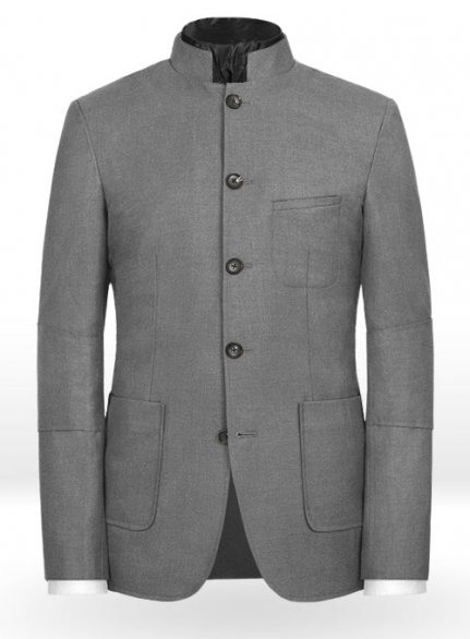 Frosted Mid Gray Terry Rayon Breezer Style Jacket