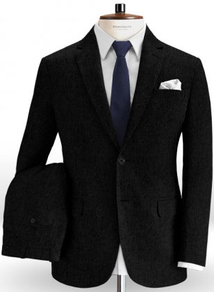 Black Thick Corduroy Suit