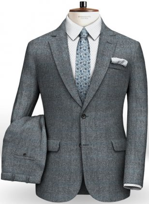 Milan Blue Feather Tweed Suit