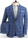 Solbiati Blue Windowpane Linen Suit