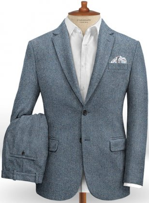 Vintage Herringbone Blue Tweed Suit