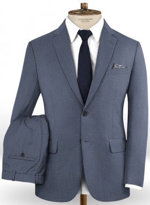 Napolean Slate Blue Wool Suit- Ready Size