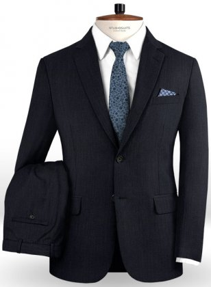 Napolean Self Satin Blue Wool Suit