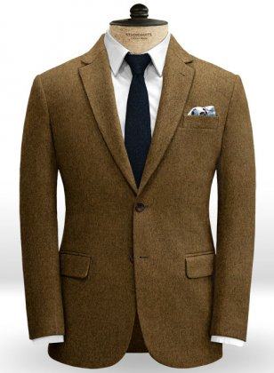 Italian Heavy Cashmere Brown Tweed Jacket