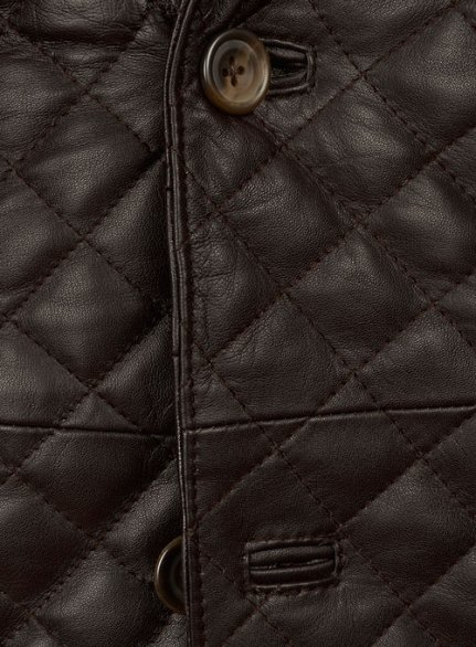 Dark Brown Bocelli Quilted Leather Blazer