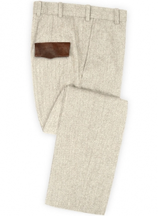 Vintage Herringbone Light Beige Tweed Pants - Leather Trims