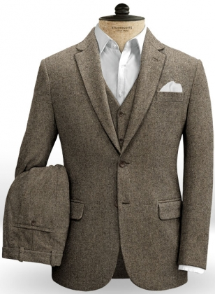 Dapper Brown Tweed Suit
