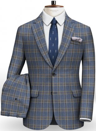 Parma Royal Blue Feather Tweed Suit