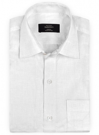 Pure White Linen Shirt - Full Sleeves