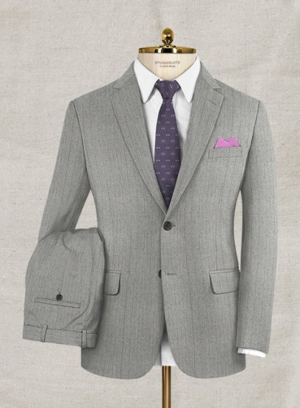 Italian Wool Cashmere Gray Herringbone Suit