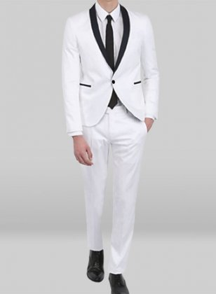 Tuxedo Suit - White Jacket White Trouser