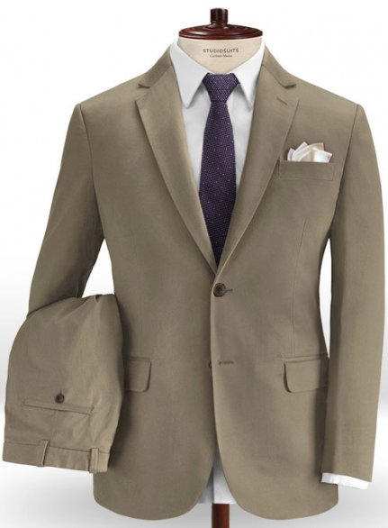 Spring Brown Stretch Chino Suit