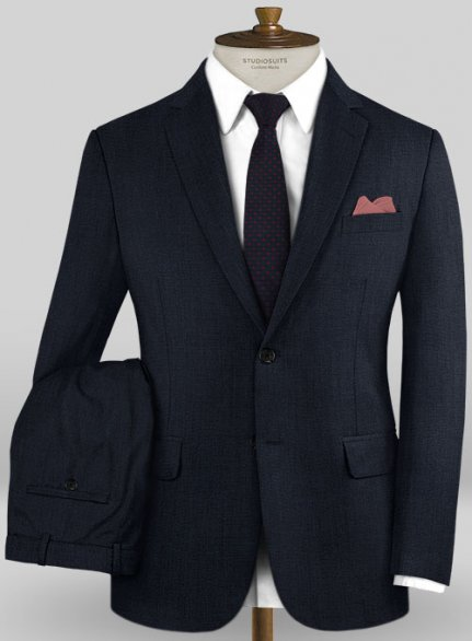 Caccioppoli Wool Dark Blue Ciagi Suit