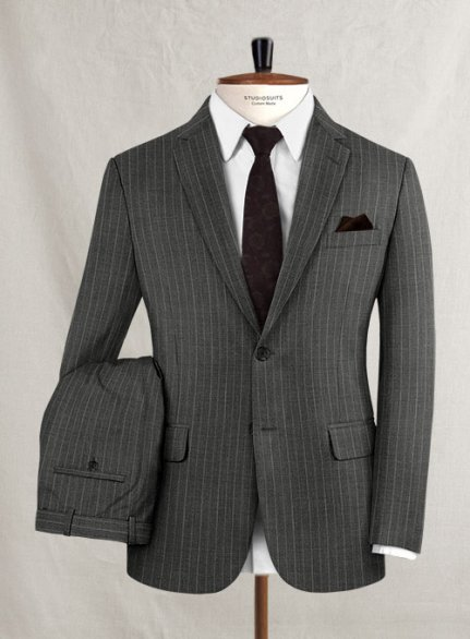 Scabal Sario Gray Stripe Wool Suit