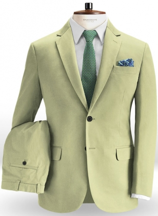 Stretch Summer Weight River Green Chino Suit