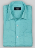 Pure Aqua Blue Linen Shirt - Full Sleeves