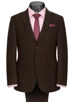 Italian Ramp Brown Linen Suit