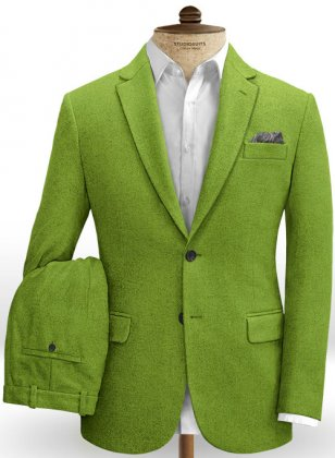 Melange Parrot Green Tweed suit