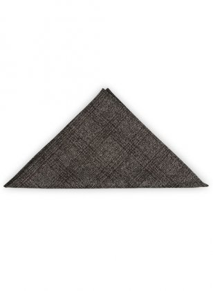 Tweed Pocket Square - Saga Charcoal Feather