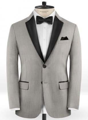 Worsted Light Gray Wool Tuxedo Jacket