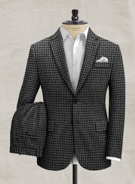 Italian Gray Houndstooth Tweed Suit