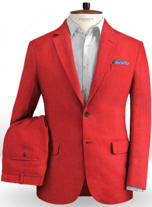 Pure Red Linen Suit
