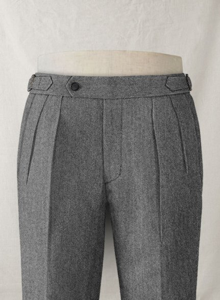Vintage Herringbone Gray Highland Tweed Trousers