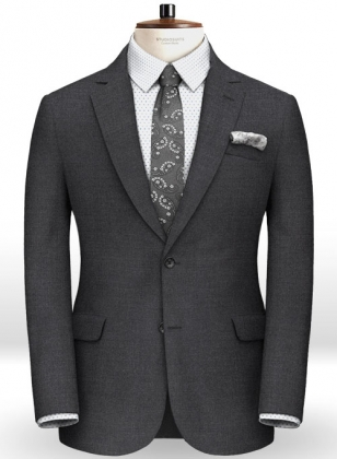 Zegna Worsted Dark Charcoal Pure Wool Jacket