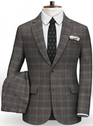 Reda Homme Gray Checks Pure Wool Suit