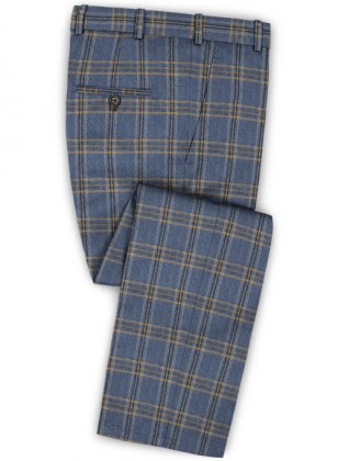 Parma Royal Blue Feather Tweed Pants