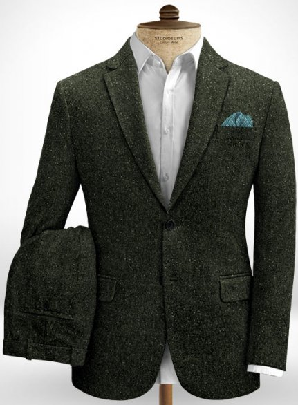 Dark Olive Flecks Donegal Tweed Suit