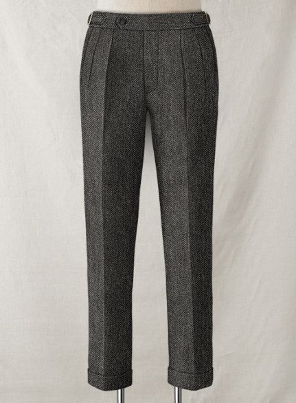 Harris Tweed Dark Gray Herringbone Highland Trousers