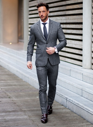 Light Weight Slubby Blue Tweed Suit