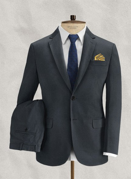 Italian Brushed Cotton Midnight Blue Suit